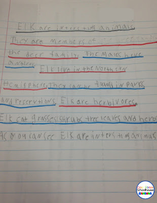 Finished student work example for expository writing with color coded sentences.