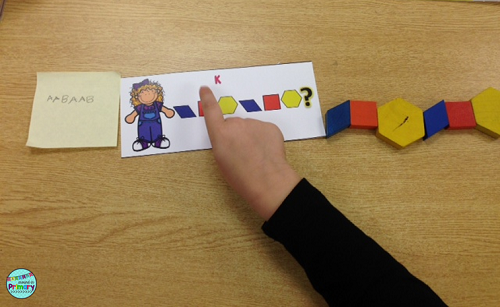 Use this patterning center and pattern blocks and work on extending a pattern.