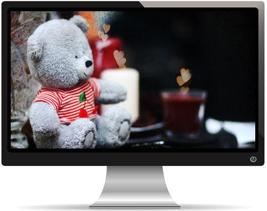 Mignon Ours en Peluche Bougie - Fonds d'Écran en Full HD