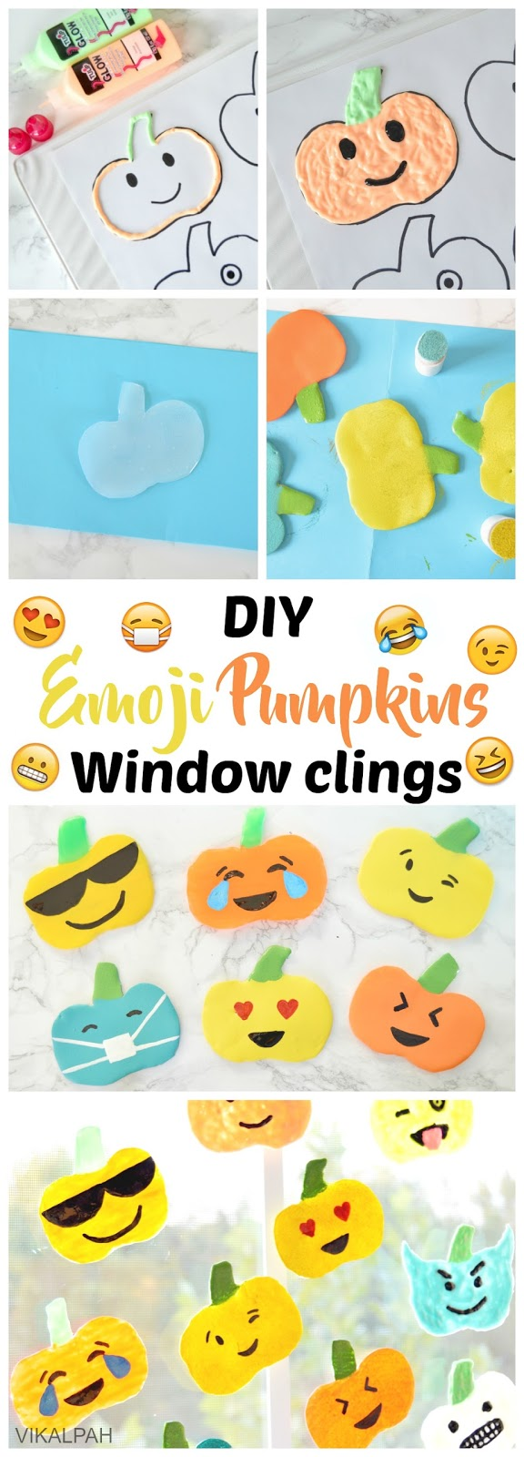 DIY window clings using puffy paint and hot glue gun