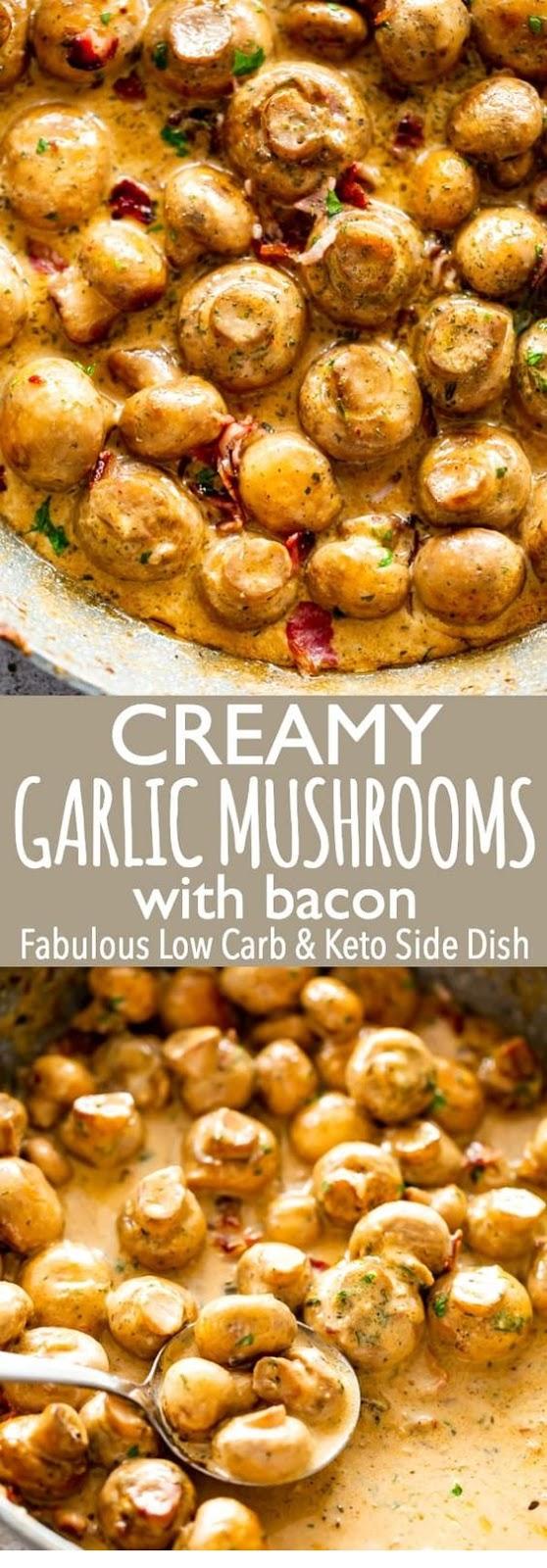 Creamy Garlic Mushrooms with Bacon