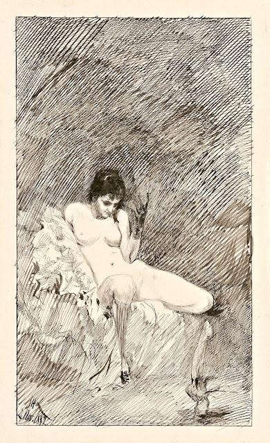 Max Klinger - donna nuda seduta con fallo danzante - erotismo - disegni