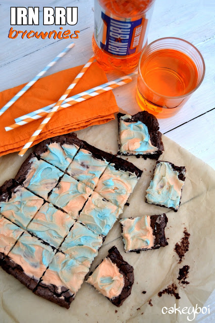 brownie mix made with irn bru drink