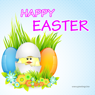 happy Easter day, Easter Eggs,Flowers and Grass