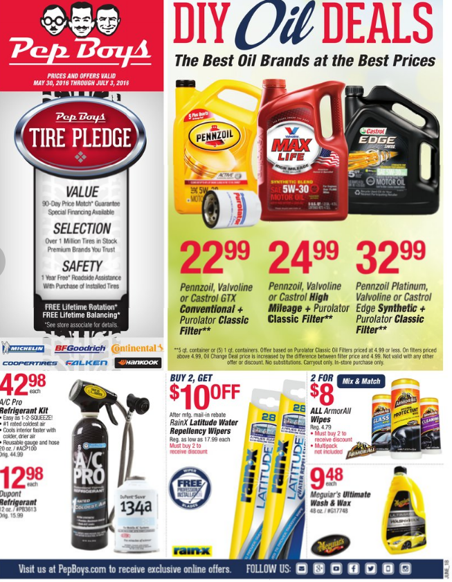 Pep Boys - Monthly Ad - Valid To Ad Search. Zip Code Store. Available Ads. Monthly Ad Categories. Accessories 7 items Batteries 5 items Oil 9 items Tools 6 items Other 25 items Monthly Ad Ad Accessories. Select Bosch,Championand® RainX Wipers. Select Philips Lighting.