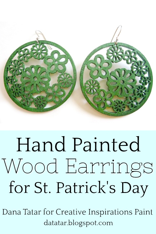 Pair of Emerald Green Decorative Wood Earrings for St. Patrick's Day