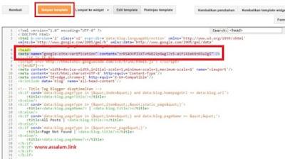 Sekarang adalah cara menempatkan kode verifikasi webmaster tool ke web/blog blogger.com dengan langkah-langkahnya yaitu. 4.- Masuk ke akun blog Anda dan klik menu Template > Edit HTML > cari kode <head> di halaman HTML, atau tekan Ctrl+ F pada keyboard dan masukkan tulisan <head> pada kolom search, lalu tekan Enter. 5.- Setelah ketemu, silahkan paste-kan kode verifikasi webmaster tool yang di copy tadi pada gambar point 1 (yang dilingkari nomor 3). Paste-tempel kode tersebut tepat di bawah kode-tulisan <head> pada halaman HTML. 6.- Tampilannya setelah di tempel kode verifikasi kurang lebih sama dengan gambar berikut. 7.- Lalu silahkan klik Simpan template perhatikan gambar di atas (gambar point 6). 8.- Kemudian kembali ke halaman verifikasi webmaster tools dan klik tombol verifikasi yang terletak pada bagian sudut bawah kiri, (lihat gambar point 1 lingkaran nomor 4). 9.- Setelah itu akan muncul halaman ucapan selamat, dan klik Lanjutkan untuk melanjutkan ke tahap berikutnya. Dan selamat Anda berhasil memverifikasi kepemilikan atas blog Anda sendiri.