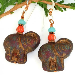 rustic elephant earrings for women