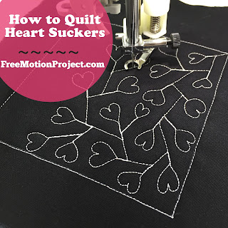 Learn how to quilt Heart Suckers in a new free motion quilting tutorial with Leah Day