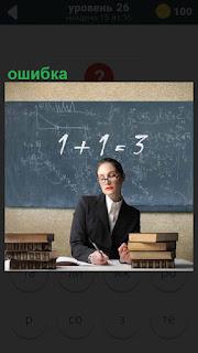 Учитель за столом, сзади доска и пример решен с ошибкой