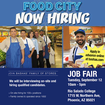 Food City Now Hiring.  Images of Food City clerks smiling at camera.  Details about job fair in blog below and event poster posted below.