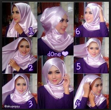 Cara memakai hijab segi empat pesta pernikahan