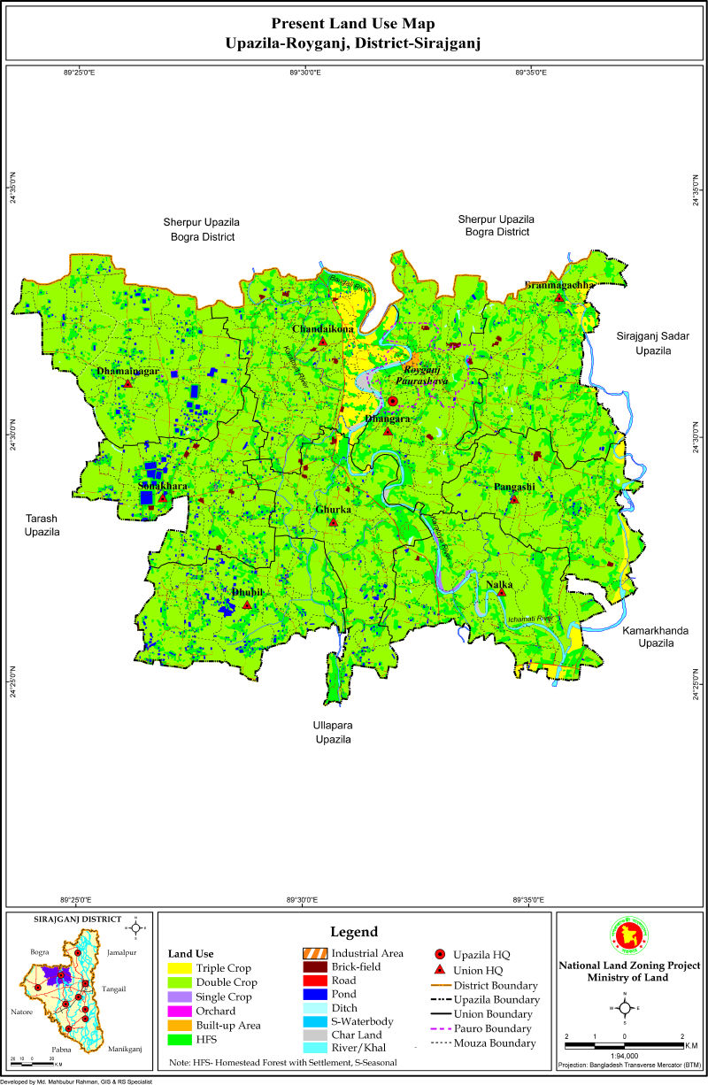 Raiganj Upazila Mouza Map Sirajganj District Bangladesh