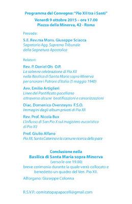 Convegno a roma Pio XII tra i Santi