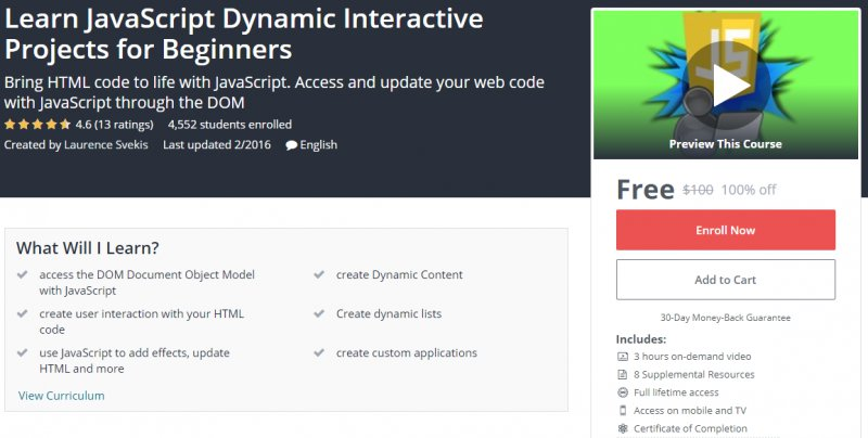 100% Off] Learn JavaScript Dynamic Interactive Projects for