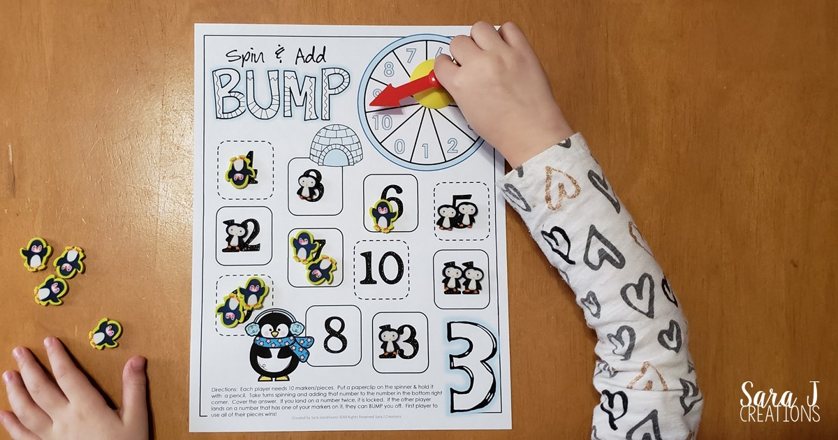 Penguin addition games are the perfect way to practice math facts for numbers up to 10. Easy print and play makes it ideal for kindergarten or first grade math centers. Grab your free printable games now!