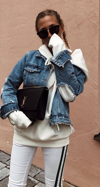 fall street style perfection / denim jacket + white sweatshirt + bag + stripped pants