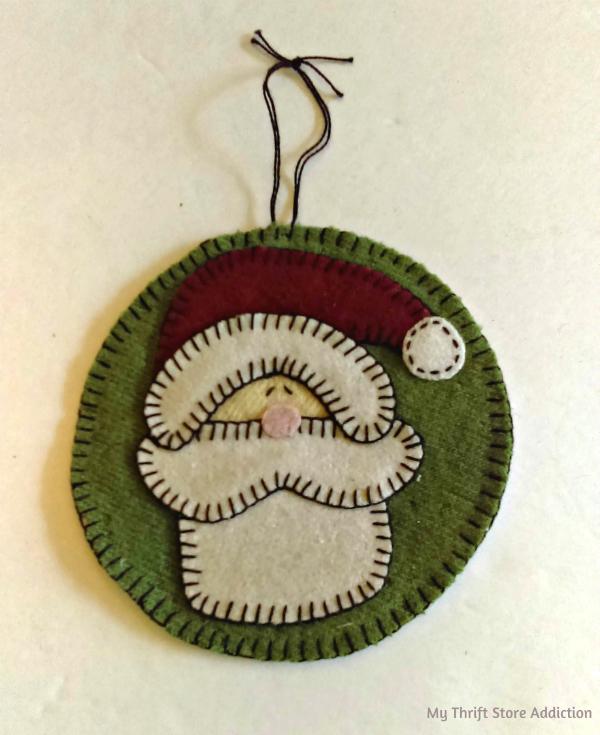 Handmade felt wool Santa ornament
