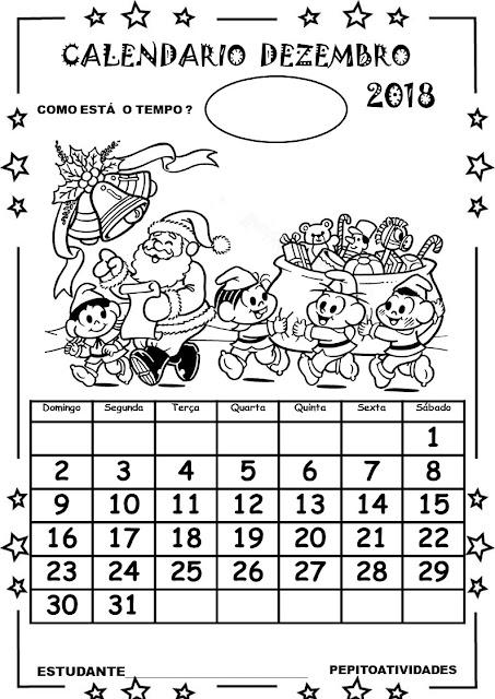 Calendário Turma da Mônica dezembro 2018.