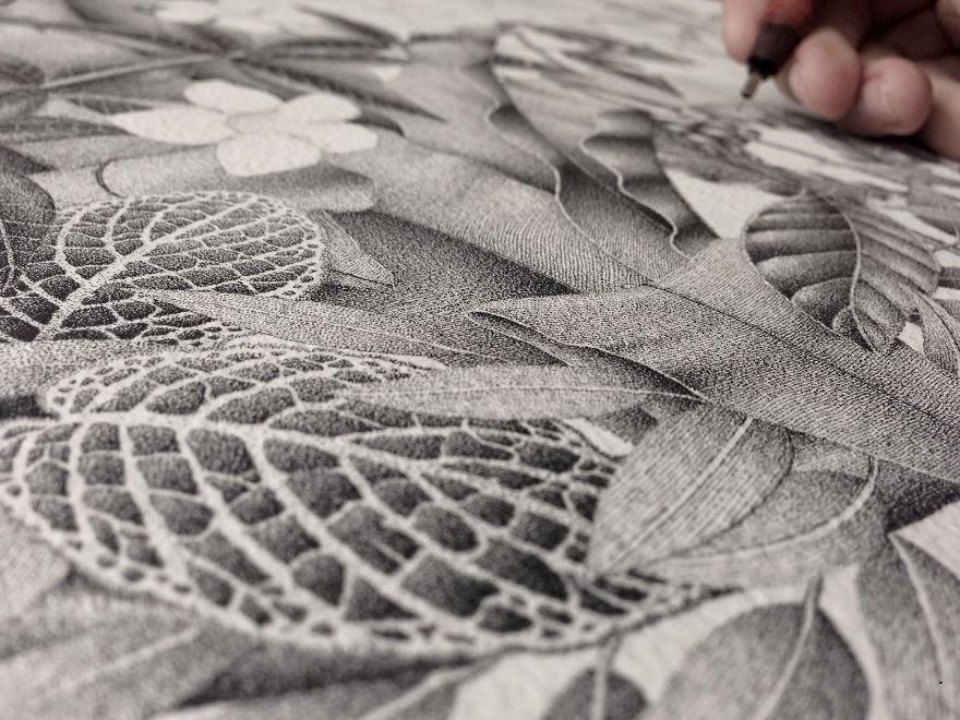 obra de arte con la técnica del puntillismo