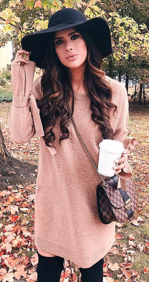 fall outfit inspiration / hat + bag + sweater dress + over the knee boots