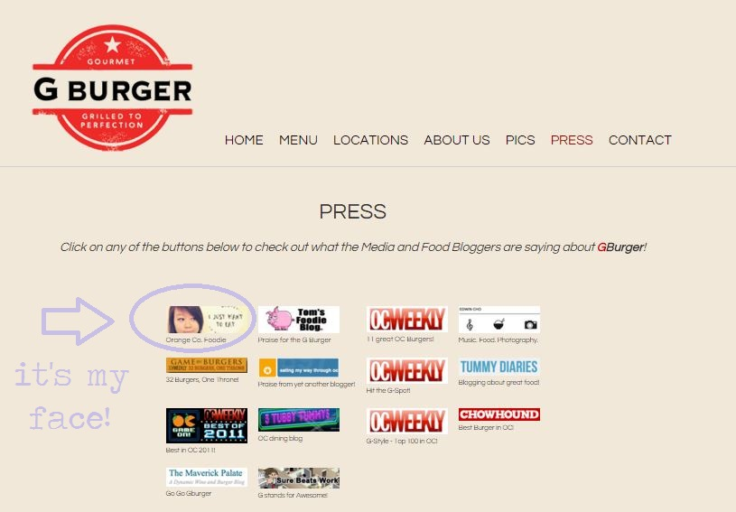 JUST NOTICED MY FACE IS ON G BURGER'S PRESS PAGE!
