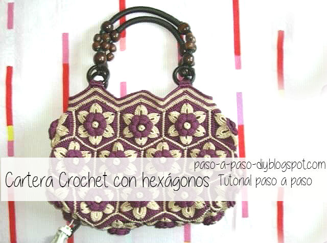 Cartera crochet hexagonos grannys