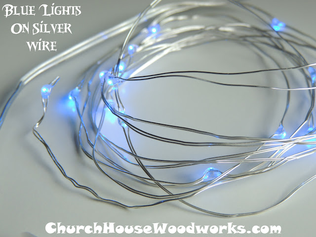 Blue Lights On Silver Wire LED Battery Operated String Lights