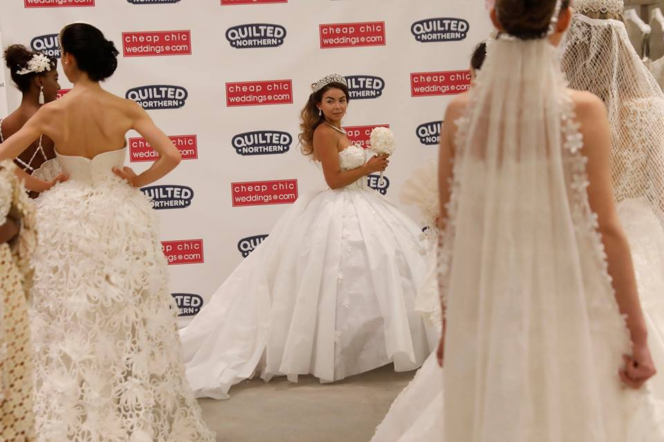Designers roll out wedding dresses made of toilet paper in New York City