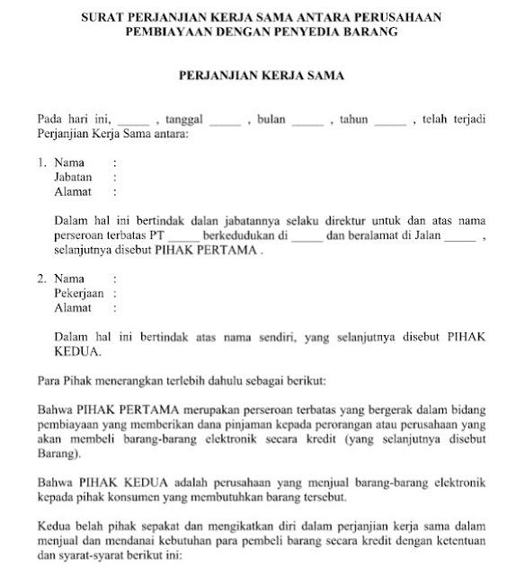 Contoh Surat Perjanjian Kerja Sama Perusahaan Pembiayaan & Penyedia Barang