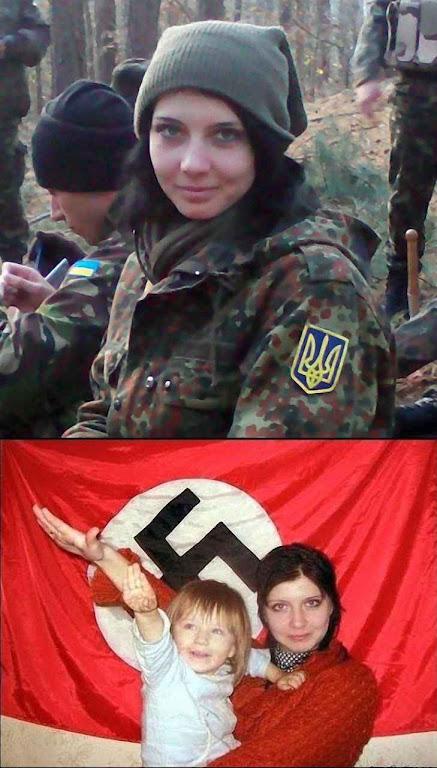 Fotomontagem criada na Rússia para 'ilustrar' chuva de 'trolls' segundo os quais os EUA e a União Europeia sustentam o nazismo que imperaria na Ucrânia. Esta mentira pegou muito na Rússia, onde foi incluída em dezenas de blogs e posts por agentes dissimulados do Kremlin.