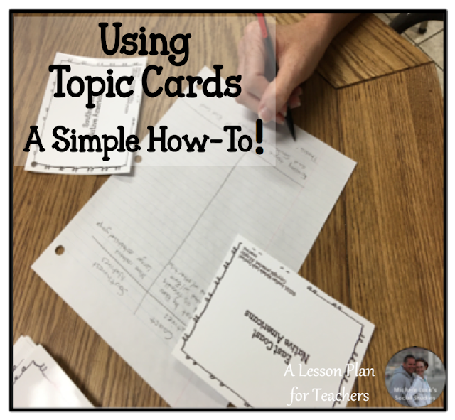 This is a simple how-to post for using topic cards in secondary classrooms.