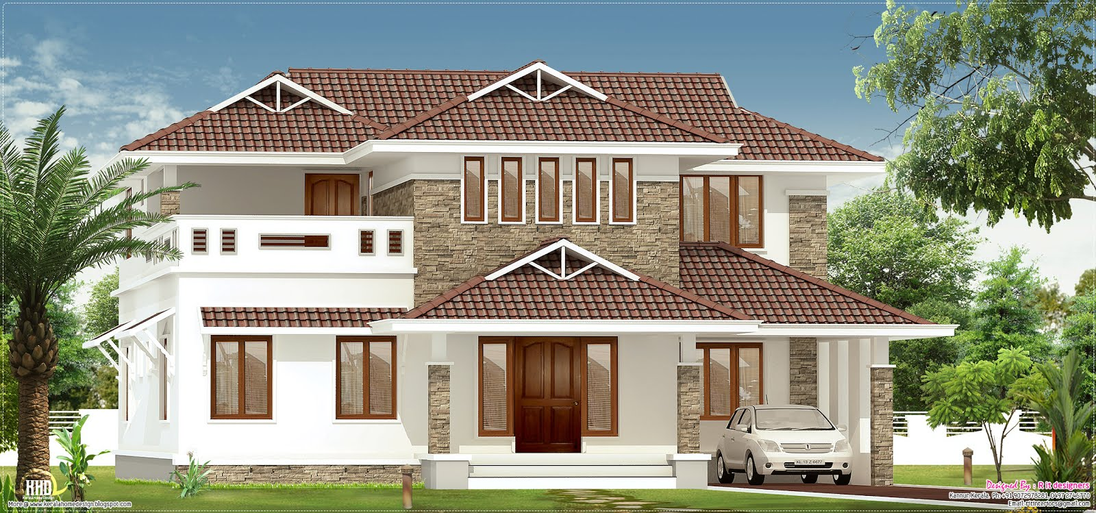 Villa House Front Elevation : January kerala home design and floor plans