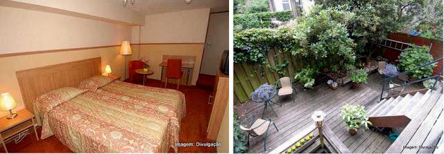 Apartamento no Hotel Sander, Amsterdã, e o pátio ajardinado do hotel