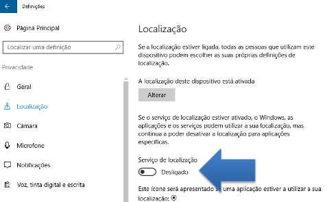 definições de privacidade do windows 10