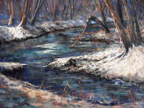 Daily Painters of Pennsylvania: Winter Stream - impressionistic representational pastel winter ...
