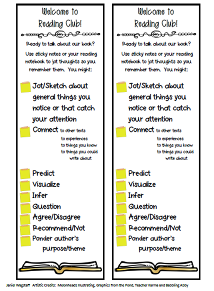 Blog post on Book Clubs designed to build school reading community and students' intrinsic motivation to read.  Includes download of bookmark with options students can use to prepare for discussions.