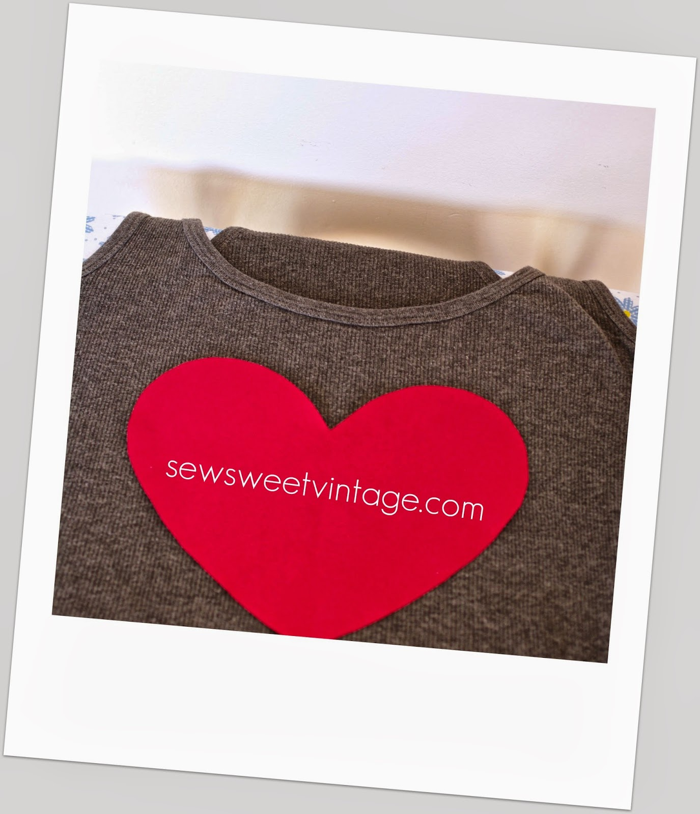 DIY heart tank top refashion for Valentine's Day by sewsweetvintage.com