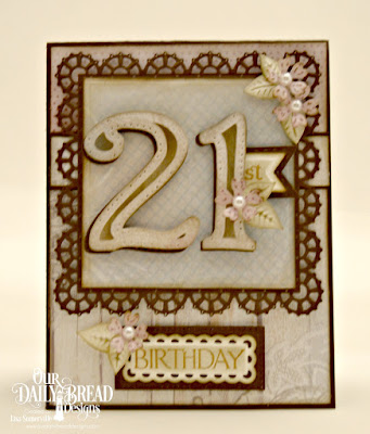Our Daily Bread Designs Stamp Set: Celebration, Custom Dies: Large Numbers, Circle Scalloped Rectangles, Pierced Rectangles, Pennant Flags, Double Stitched Pennant Flags, Layered Lacey Squares, Bitty Blossoms, Squares, Paper Collection: : Shabby Rose