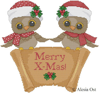 Free cross-stitch patterns, Christmas Owls, Christmas, holiday, winter, owl, bird, animal, clipart, cross-stitch, back stitch, cross-stitch scheme, free pattern, x-stitchmagic.blogspot.it, вышивка крестиком, бесплатная схема, punto croce, schemi punto croce gratis, DMC, blocks, symbols, patrones punto de cruz, #crossstitch_pattern, #crossstitch