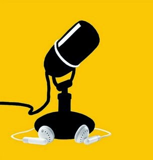 Black and white simple icon representing a radio microphone and earbuds, against a yellow background