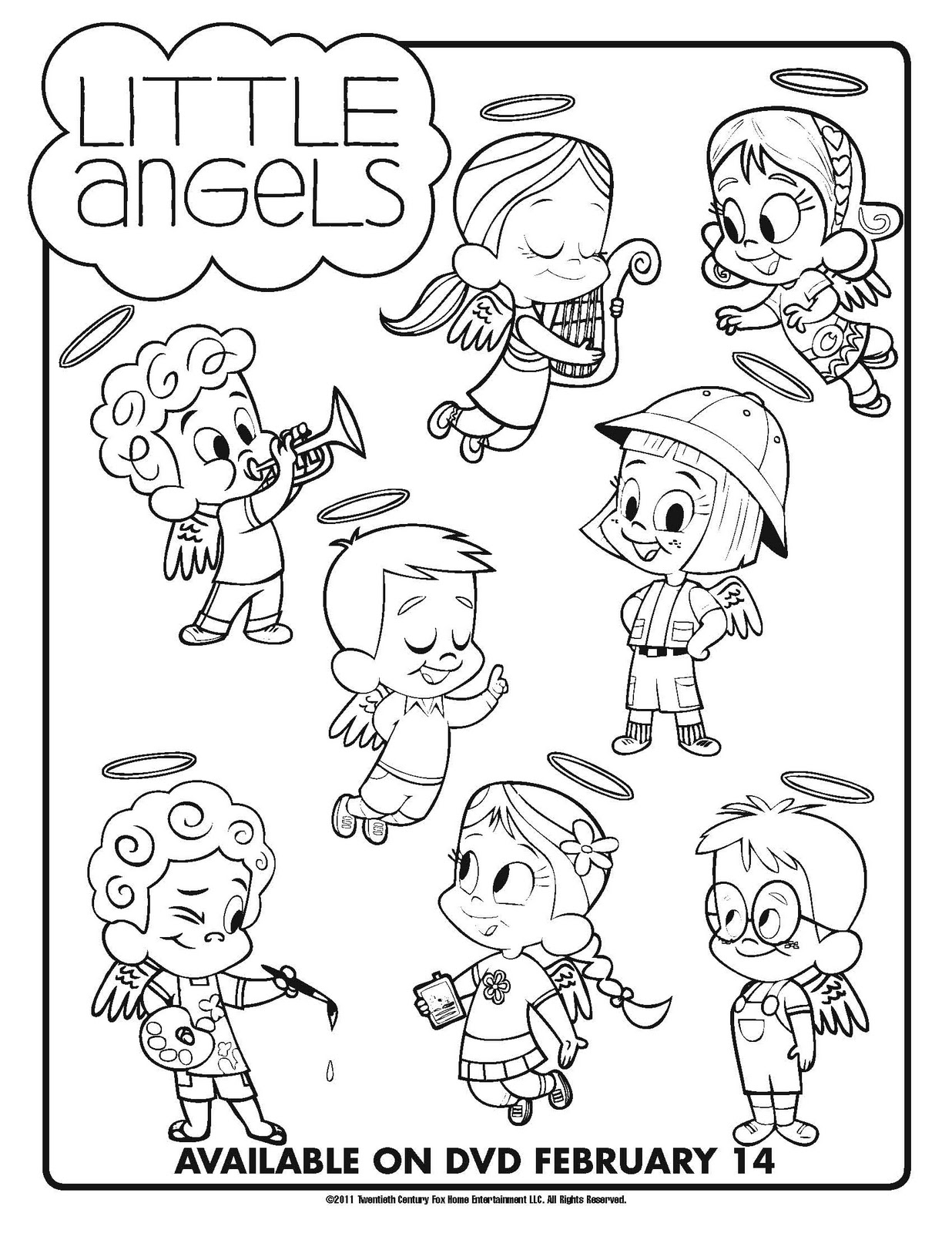 Little Angels Coloring Sheet And Valentines