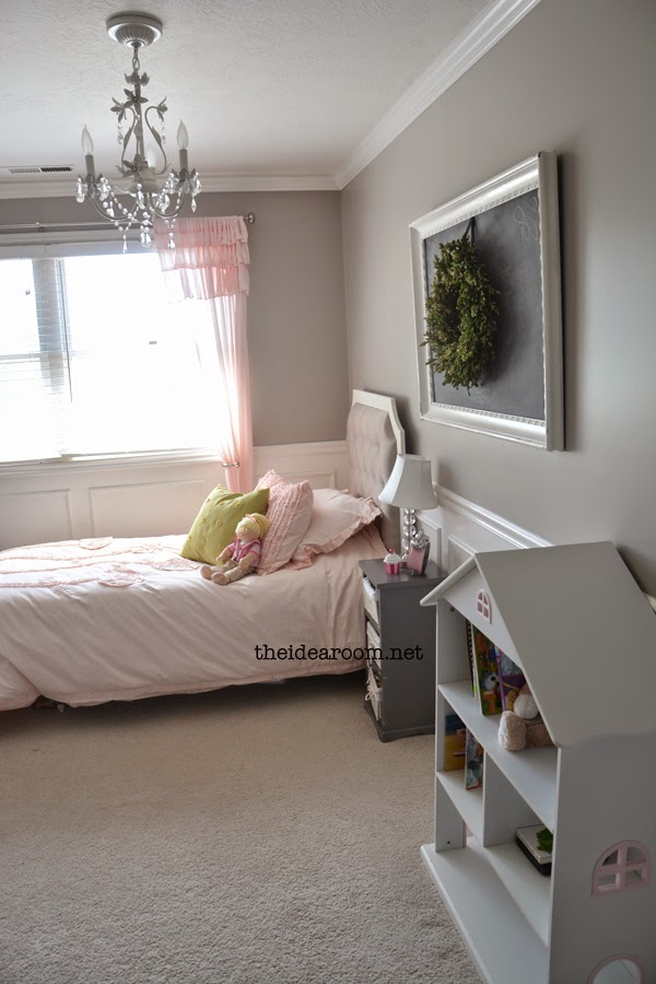 gray and pink girl room