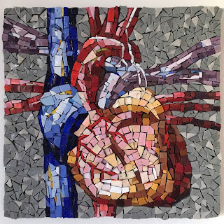 anatomical heart art glass Sharon Warren finished smalti mosaic orsoni italian