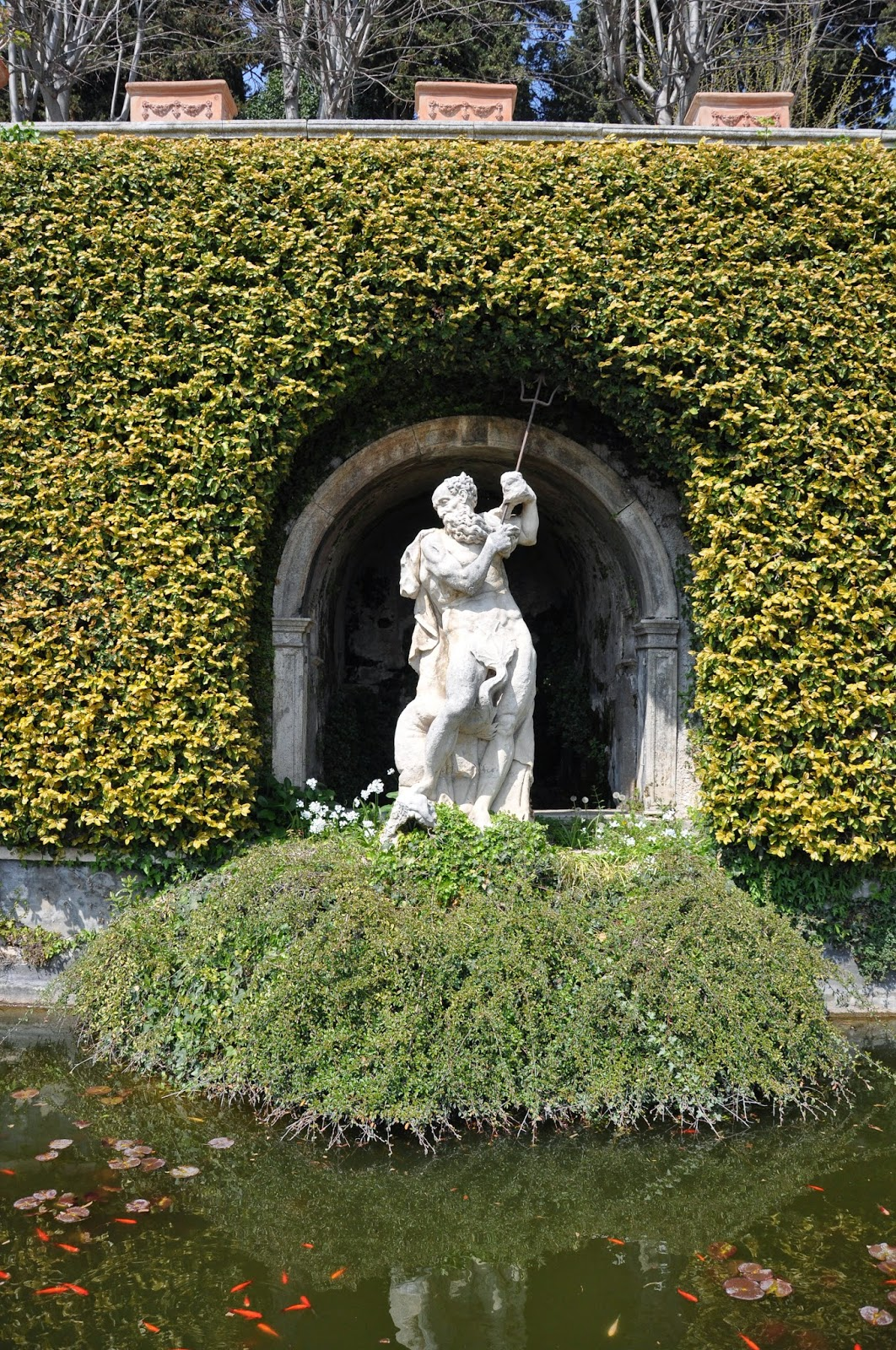 The Neptune fountain in the park of Villa da Schio, Costozza