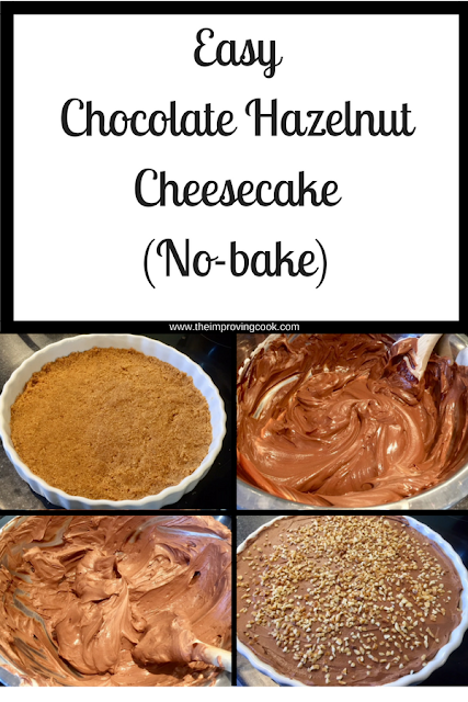 Step by step photos of chocolate hazelnut cheesecake being made