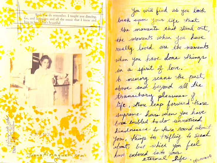 journal page with vintage photograph and quotes