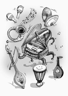 Kinderbuchillustration, Instrumente, Musik