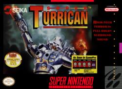 Portada del cartucho de Super Nintendo de Super Turrican de 1993