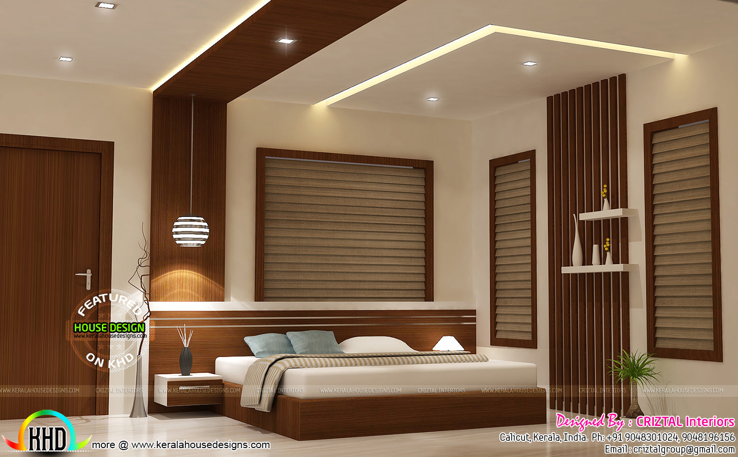 Bedroom dining hall and living interior kerala home for Interior design for living room and bedroom